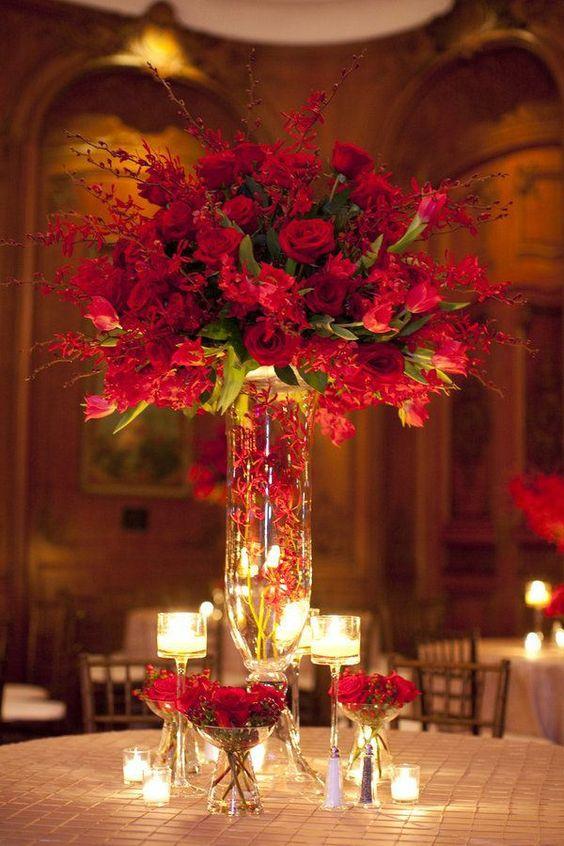 Florero alto para las mesas de boda