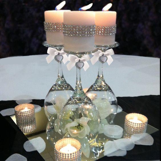 Copas invertidas con velas. ¡Un toque de distinción en tu mesa!