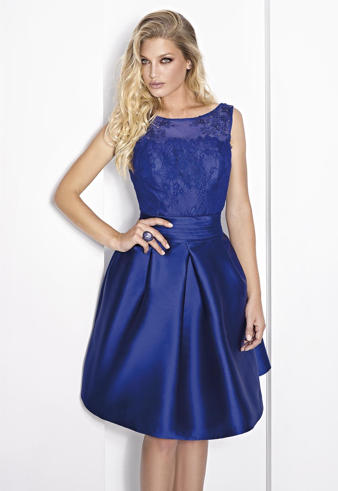 Vestido azul real Cabotine con falda de vuelo