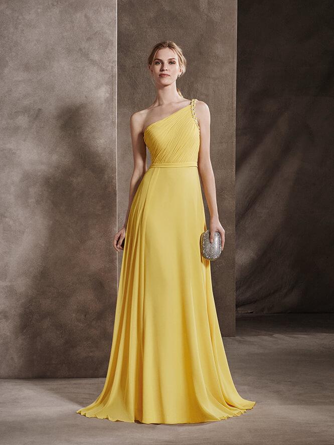 Escote asimétrico para un vestido en color amarillo
