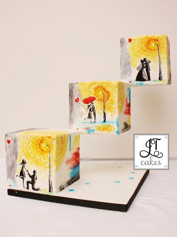 Un pastel formado por cubos