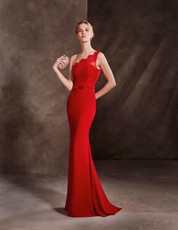 Escote asimétrico para vestido en color rojo