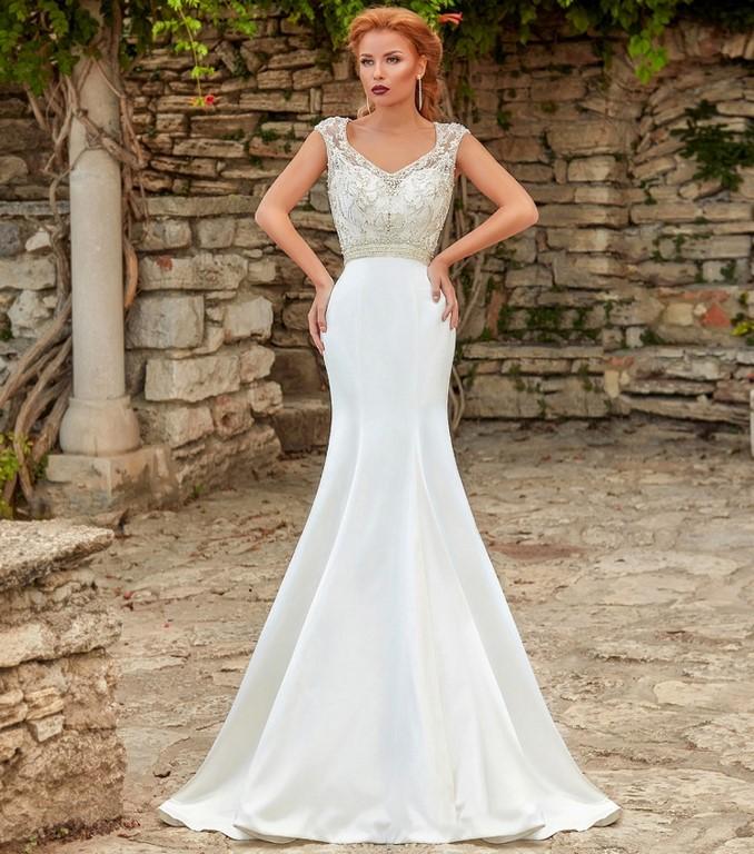 Vestido recto de novia combinado