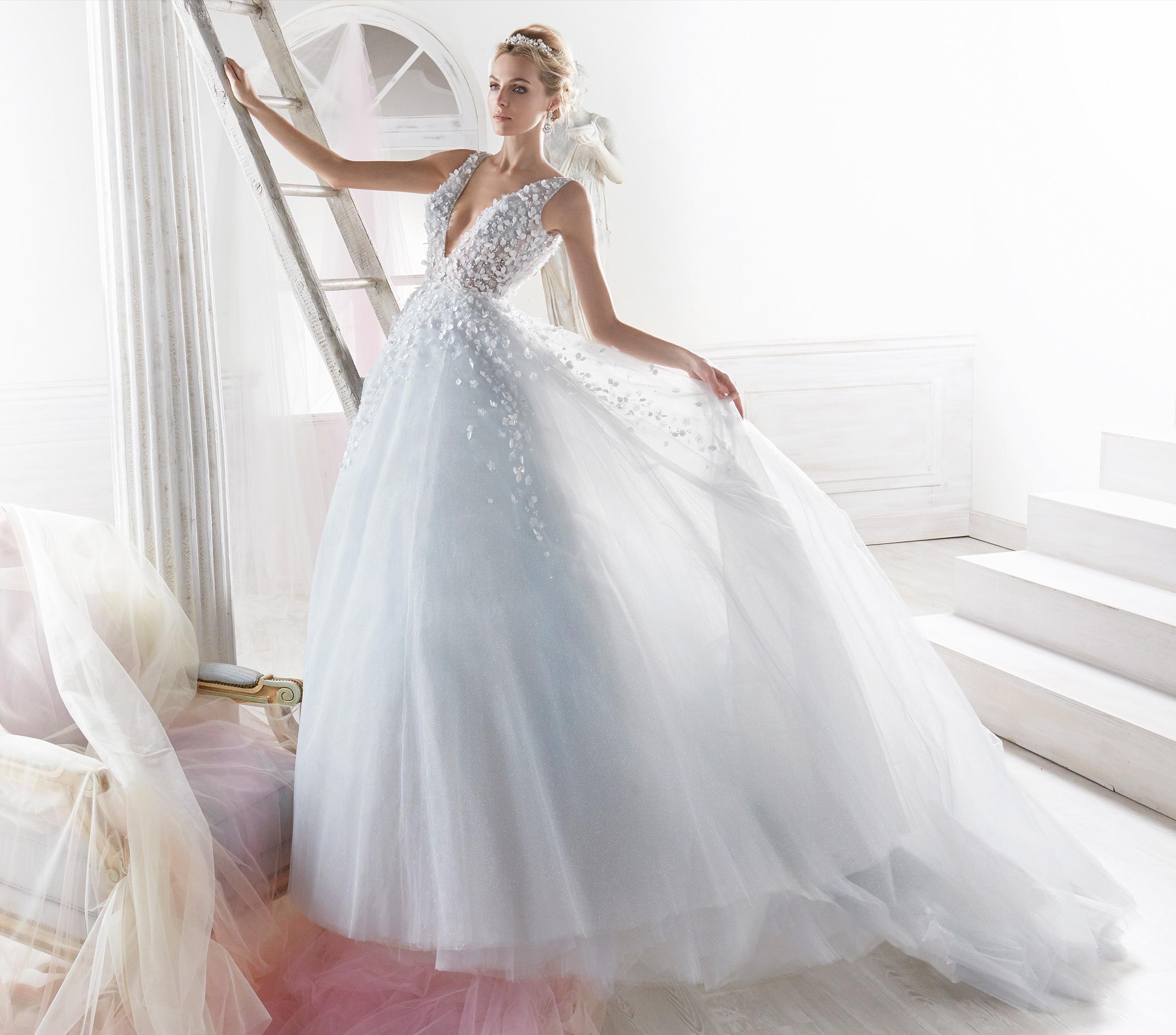 Vestido de novia en azul