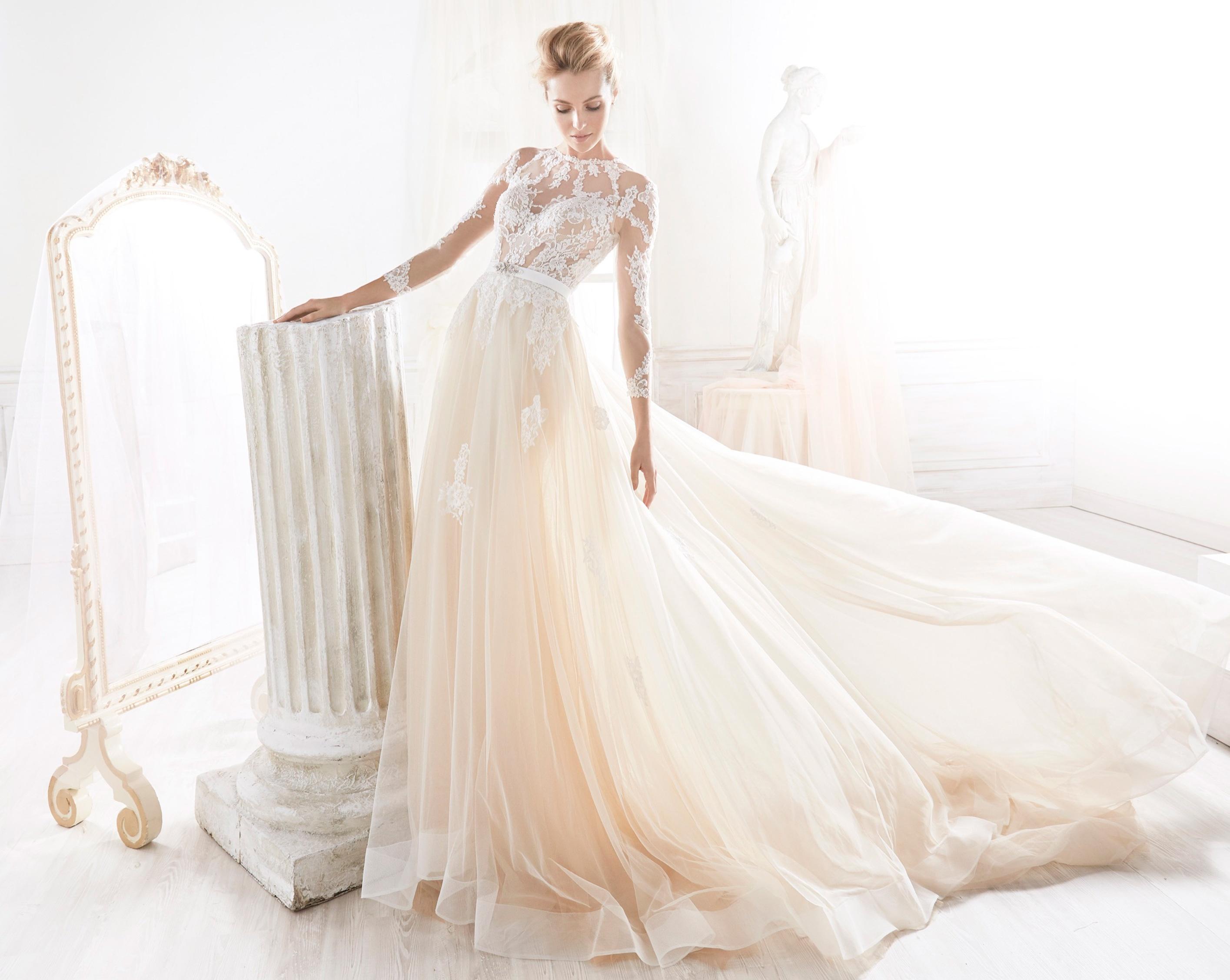 Vestido de novia gasa encajes
