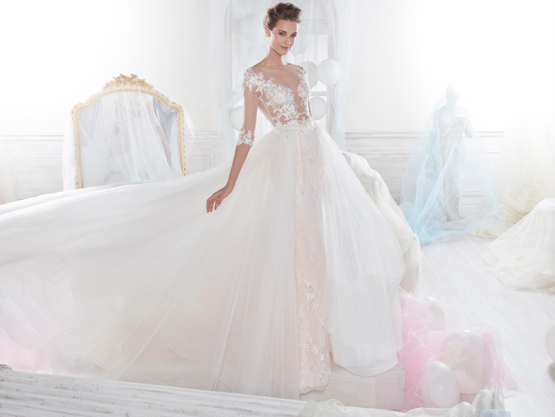 Vestido media manga novias