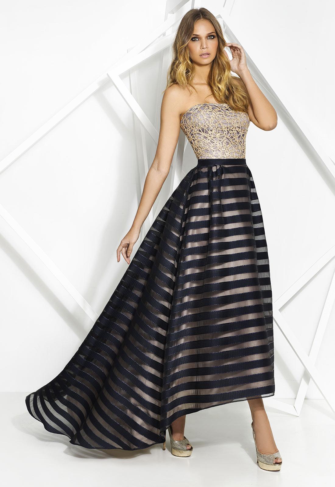 Vestido moderno con falda asimétrica