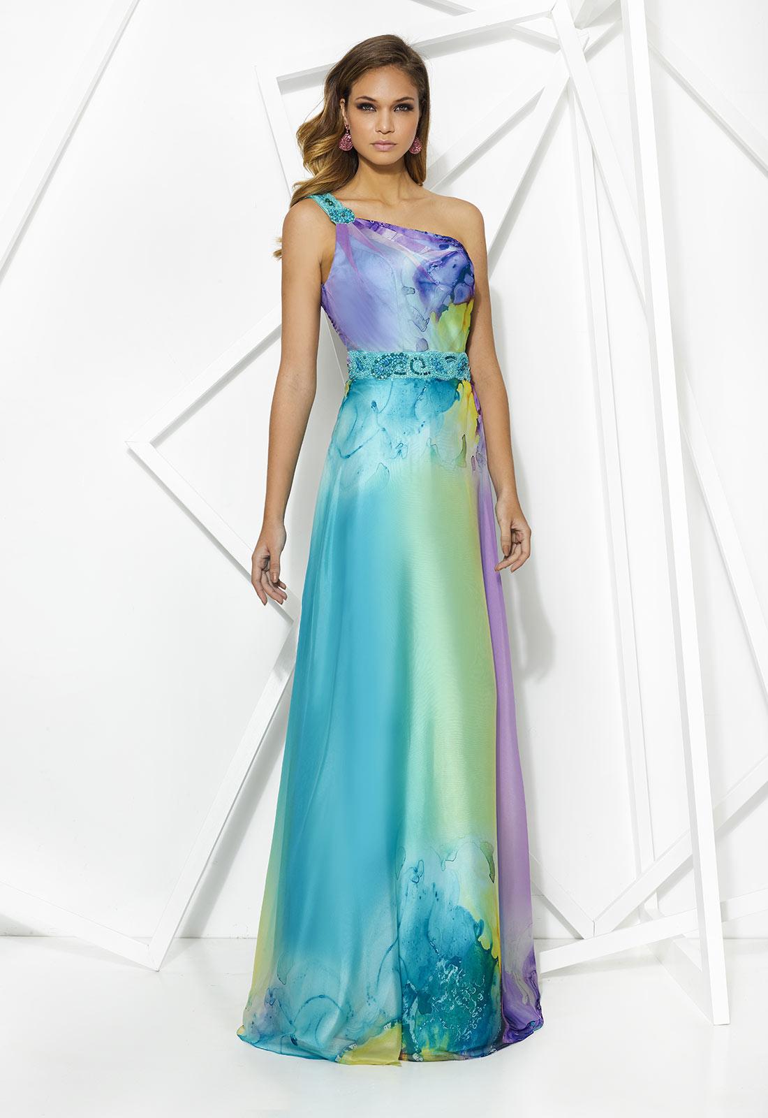 Vestido de escote asimétrico en colores