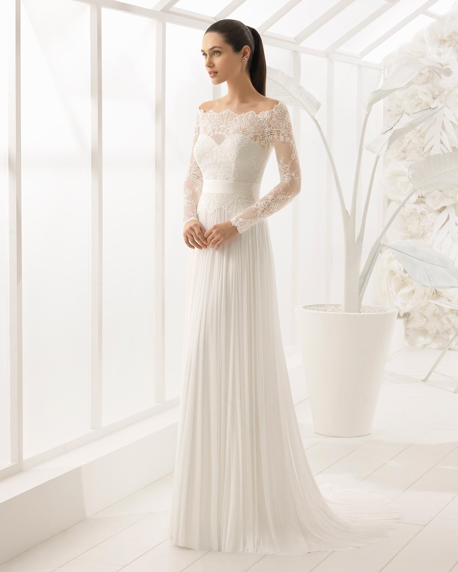 Vestido de novia plisado